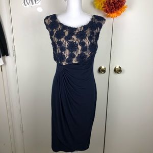 CONNECTED APPAREL DRESS SIDE RUCHED LACE SIZE 10